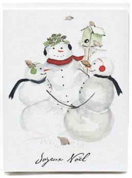 Three Snowmen Note Cards - box of 8   NEW