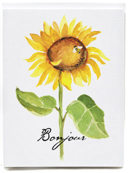 Sunflower Bonjour Note Cards - box of 8