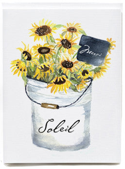 Sunflower Bucket Merci Note Cards - box of 8