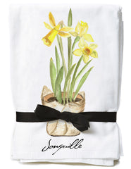 French tea towels with a daffodil design