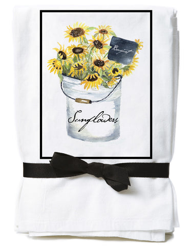 Sunflower Bucket Flour Sack Towels