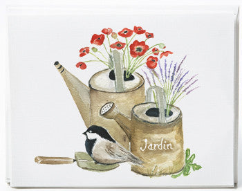 Watering Cans Note Cards - box of 8   NEW