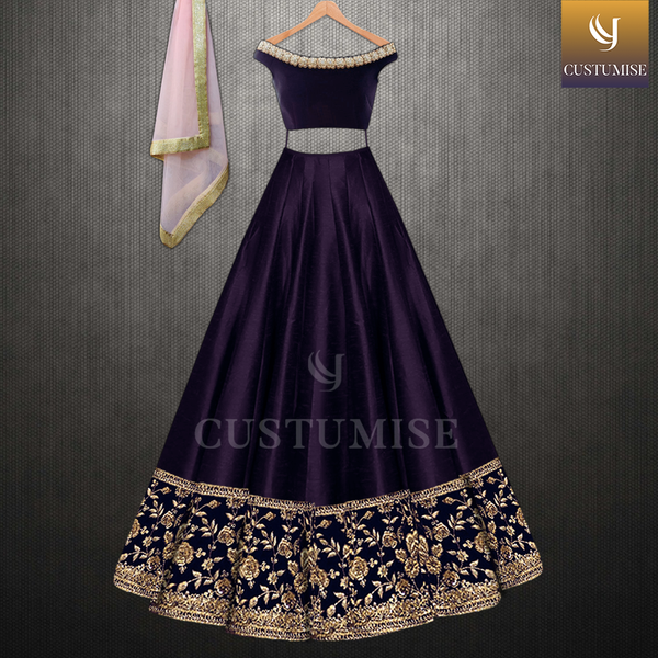 Deep Purple Off Shoulder Blouse & Zari Embroidered Lehenga