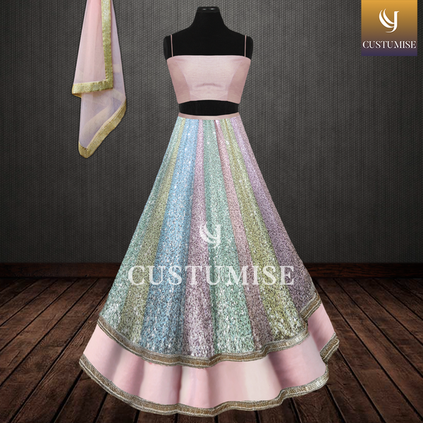 Pastel Pink Tube Blouse & Multicolored Sequin Lehenga