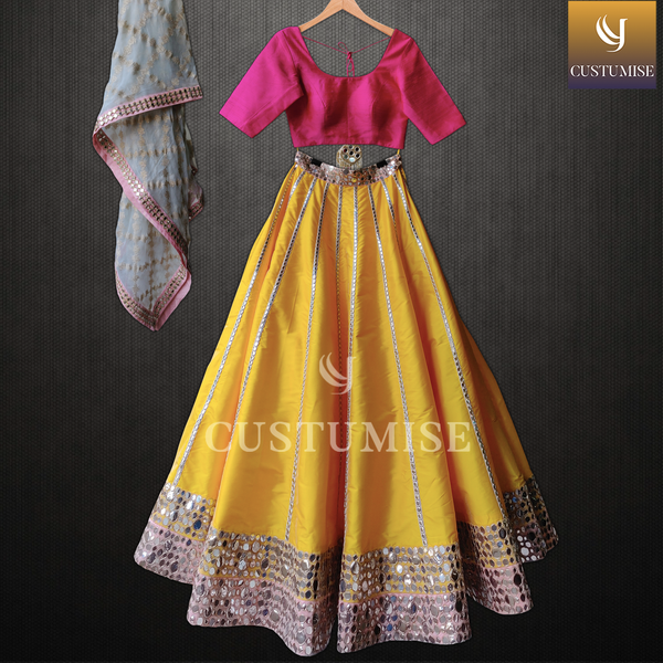 Pink Blouse & Yellow Mirror Embroidered Lehenga