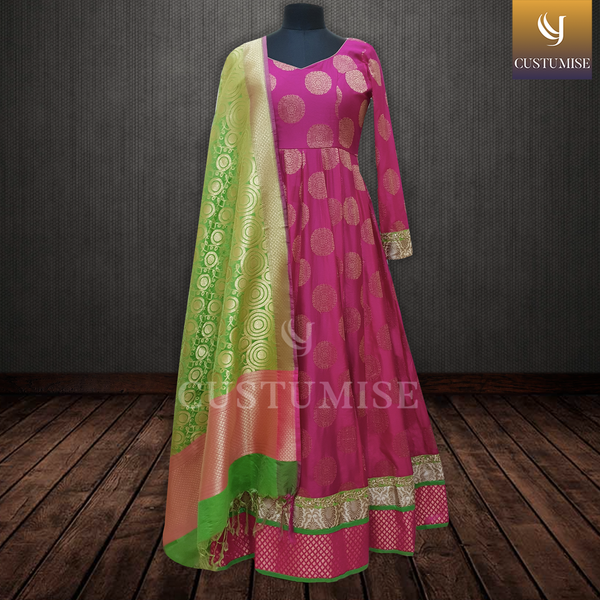 Pink & Parrot Green Anarkali Suit