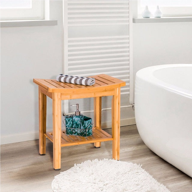 "18"" Bamboo Shower Seat Bench Bathroom Spa"