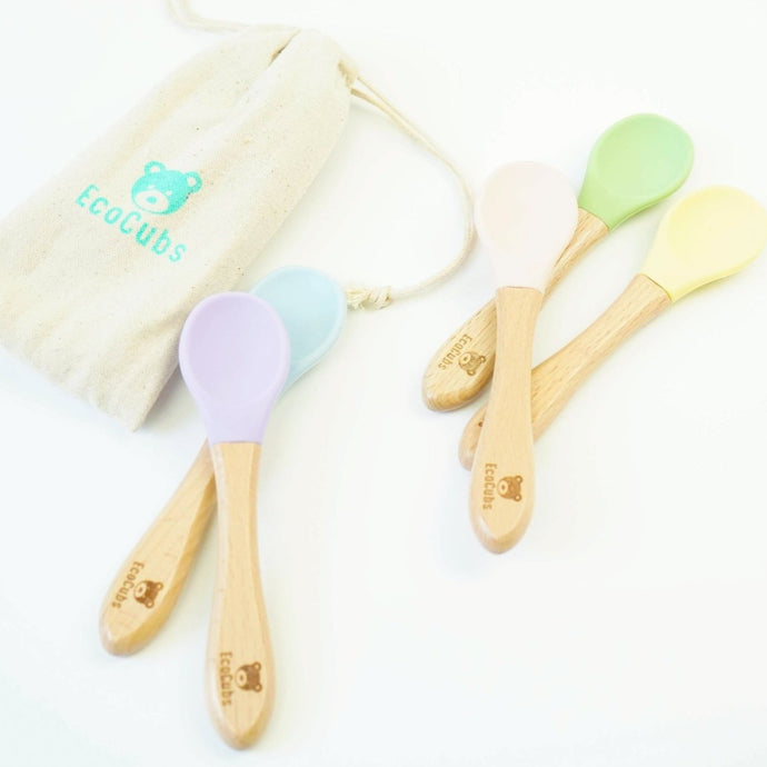 EcoCubs Set of 5 Spoons- Beechwood & Silicone