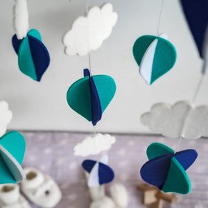 Handmade Baby Mobile- Navy Blue, Turquoise & White