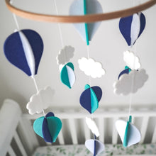 Load image into Gallery viewer, Handmade Baby Mobile- Navy Blue, Turquoise & White