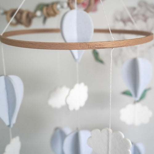 Handmade Baby Mobile- Pale Grey & White