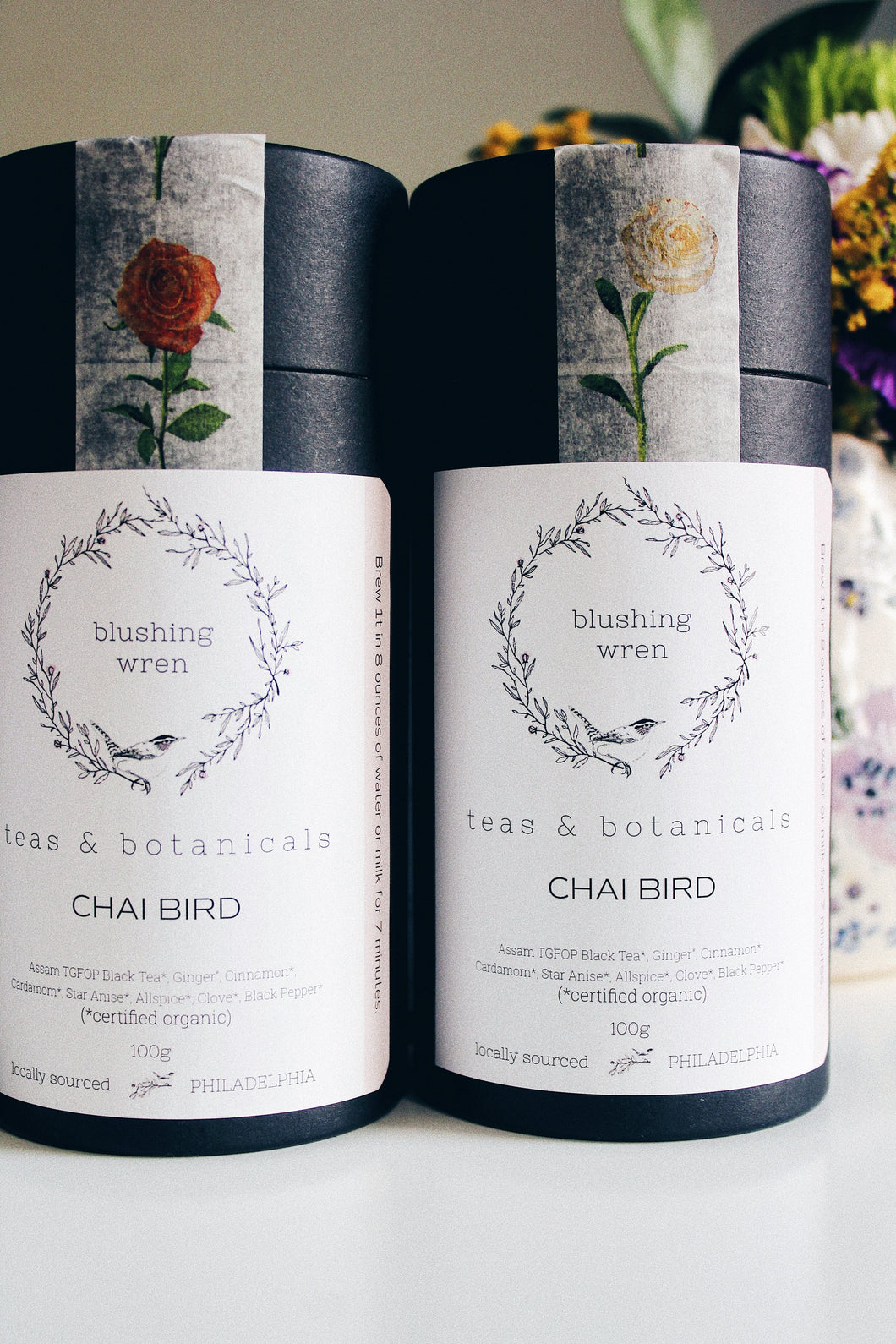 Containers of Blushing Wren Teas Chai Bird Tea