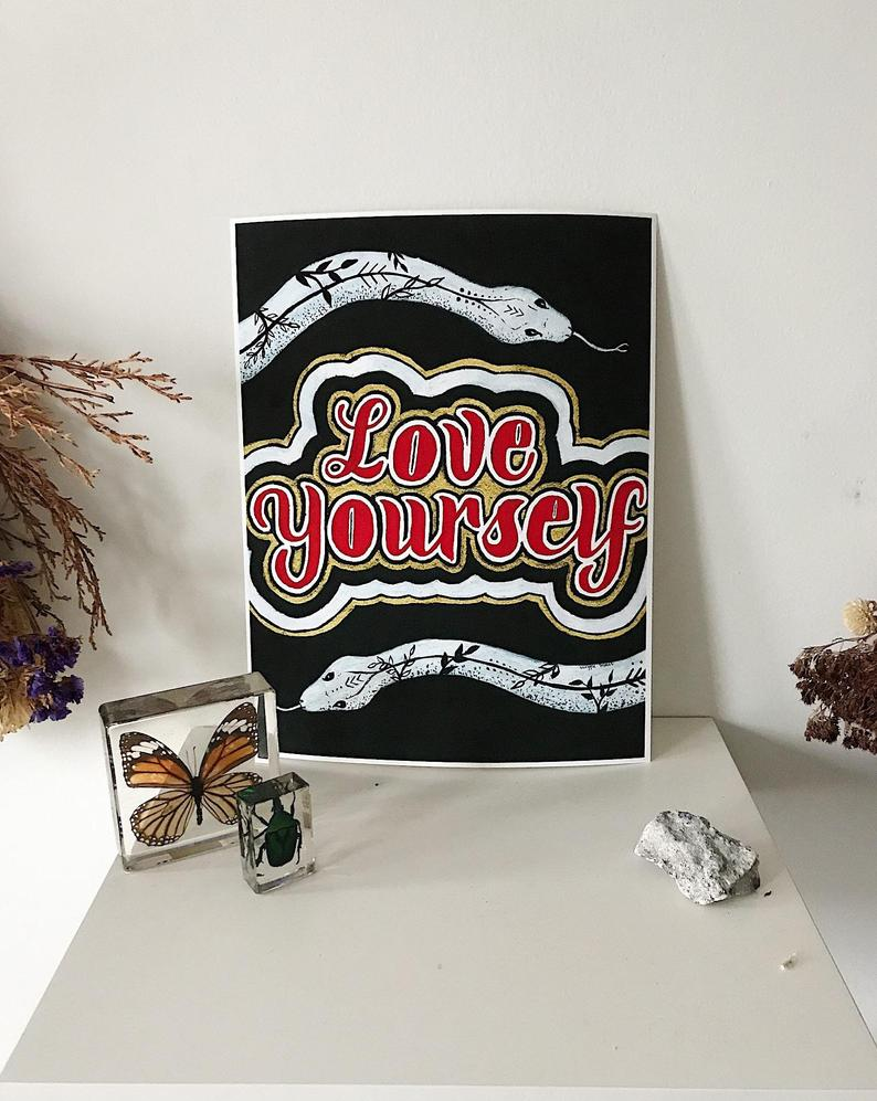 Love Your Self Snake Print