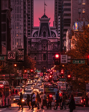 Beautiful shot of city hall down Market St by Philadelphia local photographer, Trevor Adams.