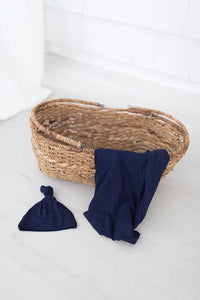 Navy Swaddle Blanket and Adjustable Hat