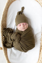 Load image into Gallery viewer, Olive Swaddle Blanket and Adjustable Hat or Headband