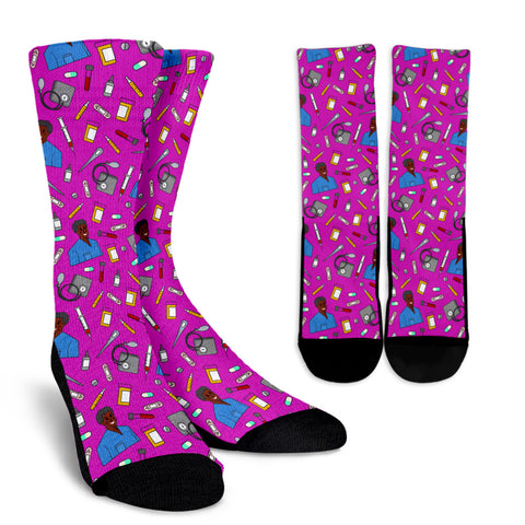 Men's Scrubs Socks - Black Character