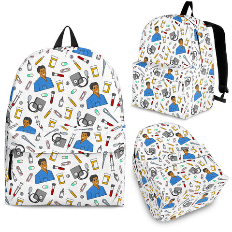 Men's Scrubs Backpack - Brown Character