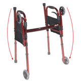 "Deluxe Folding Travel Walker with 5"" Wheels - FLAME RED"