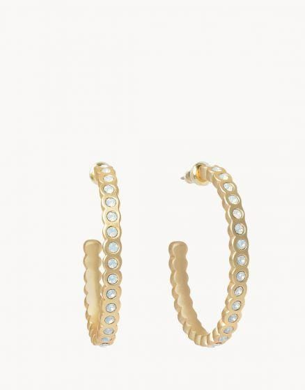 Gold Chamber Hoop Earrings