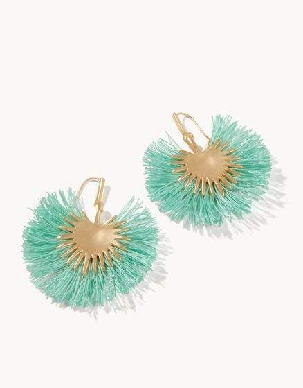 Teal Palmetto Frond Earrings