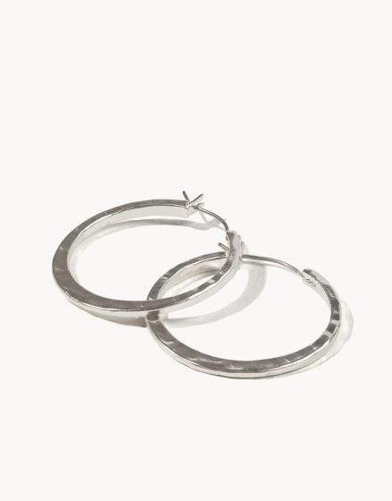 Silver Textured Hoop Earrings at It's So Wright