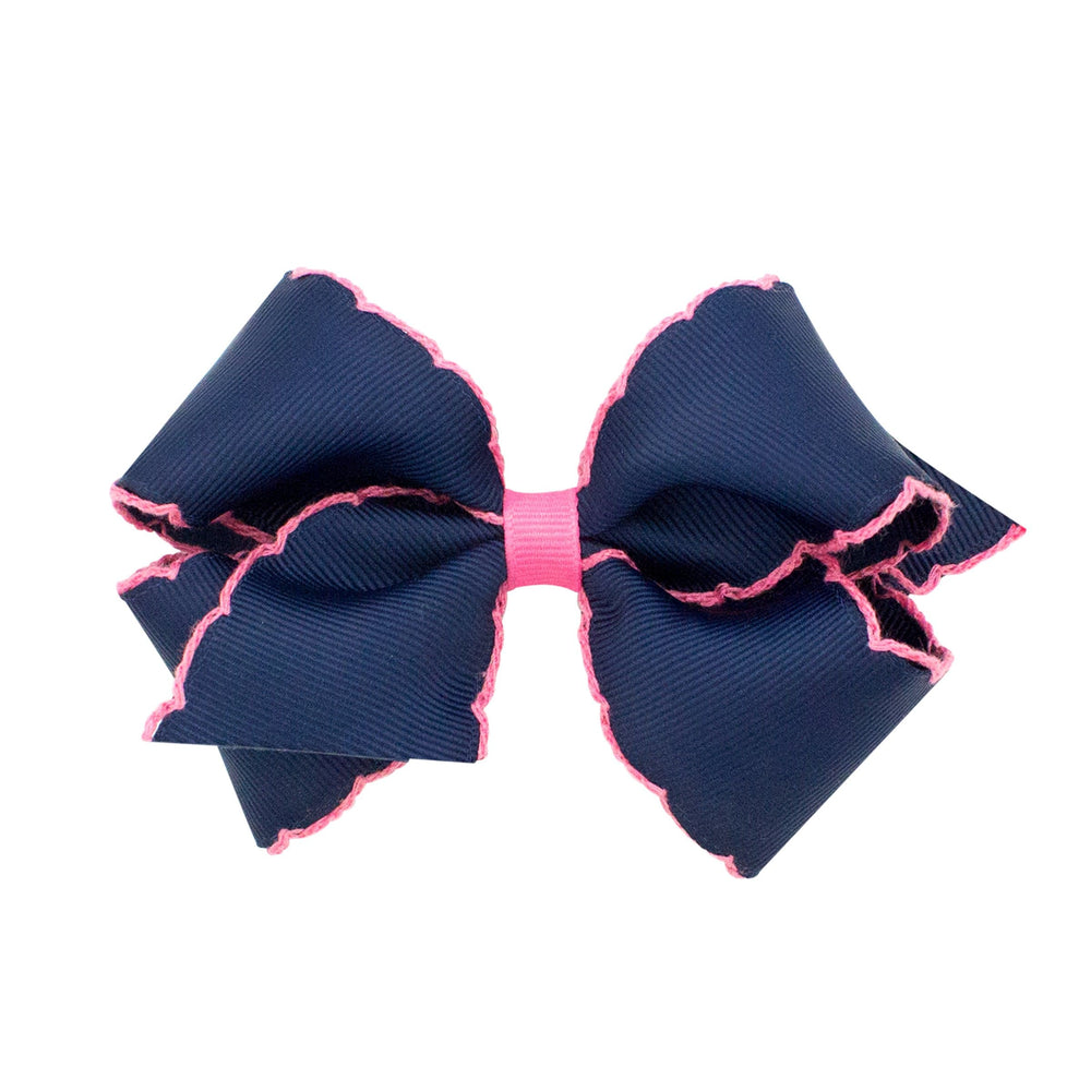 Navy & Hot Pink Moonstitch Small Bow