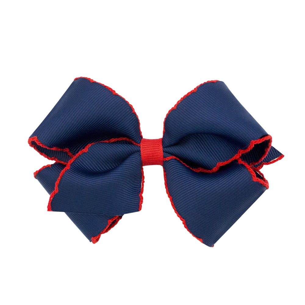 Navy & Red Moonstitch Small Bow