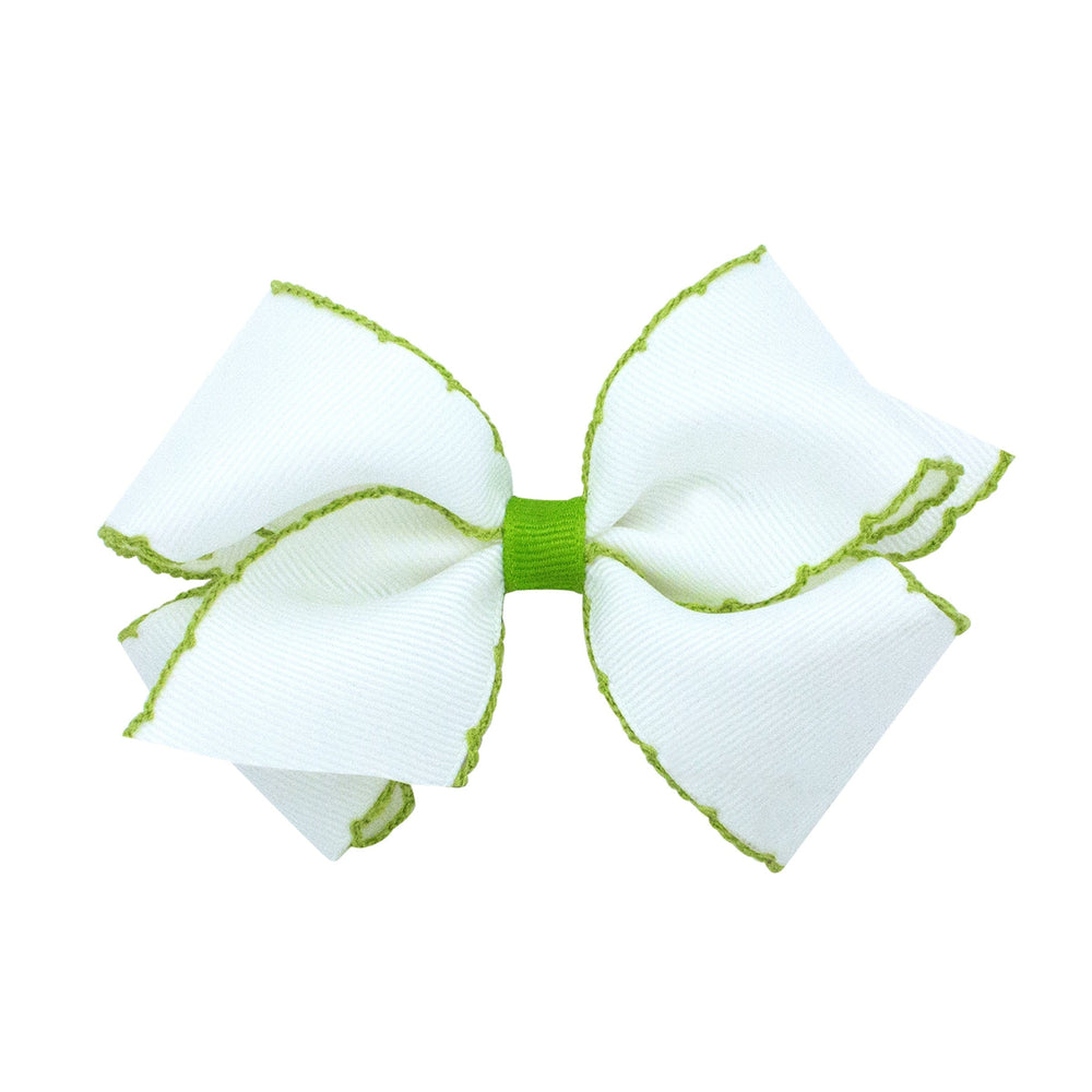White & Lime Moonstitch Medium Bow