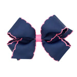 Navy & Hot Pink Moonstitch Medium Bow