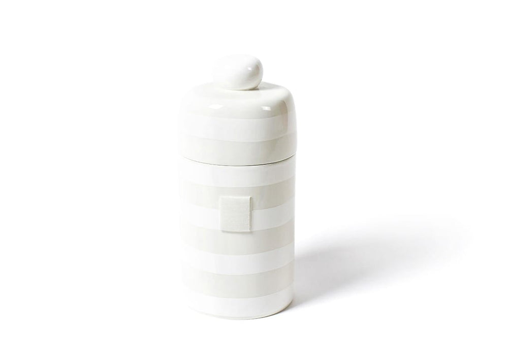 Happy Everything White Stripe Canister