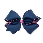 Navy & Hot Pink Moonstitch King Bow