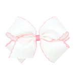 White & Light Pink Moonstitch King Bow