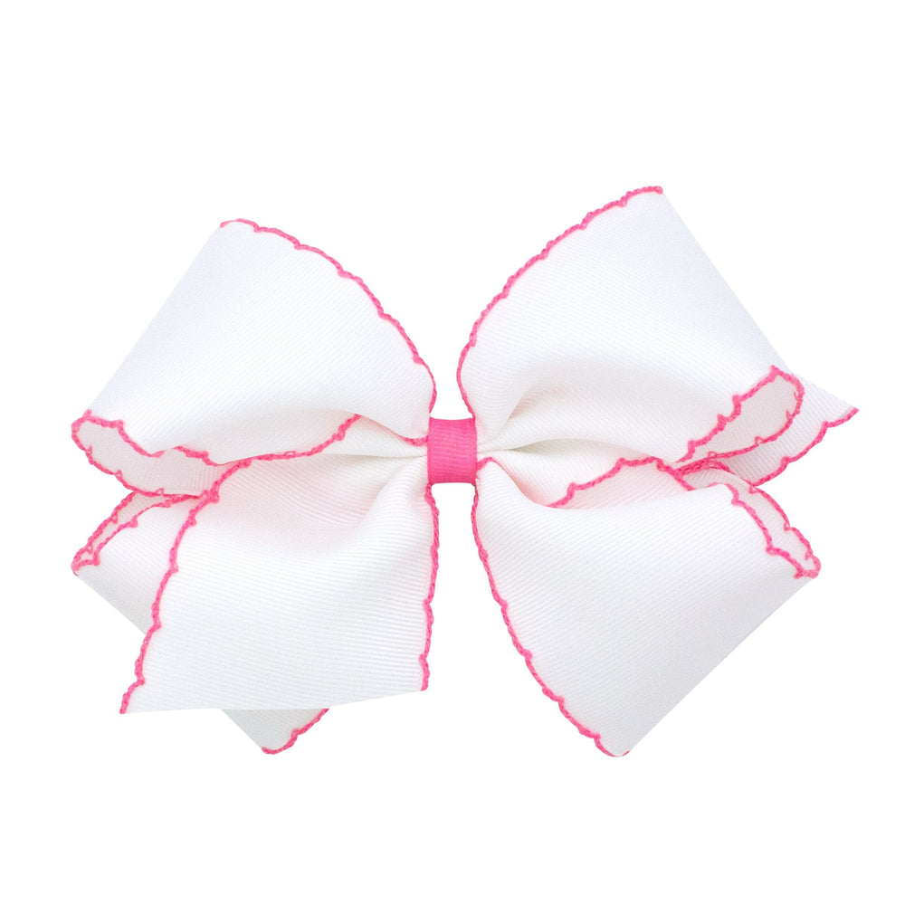 White & Hot Pink Moonstitch King Bow