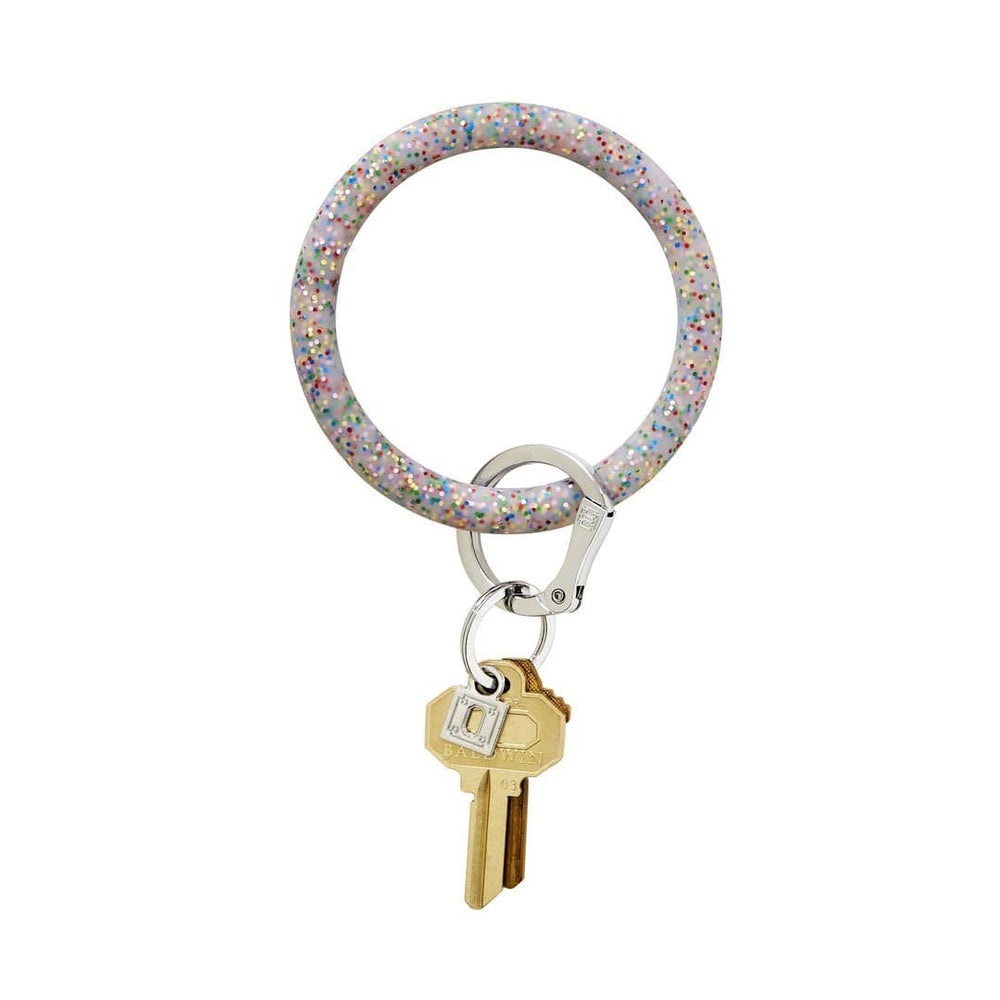 Rainbow Confetti Silicone BigO Key Ring at It's So Wright