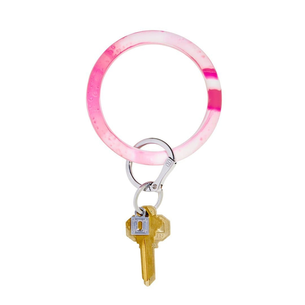 Tickled Pink Marble Silicone BigO Key Ring