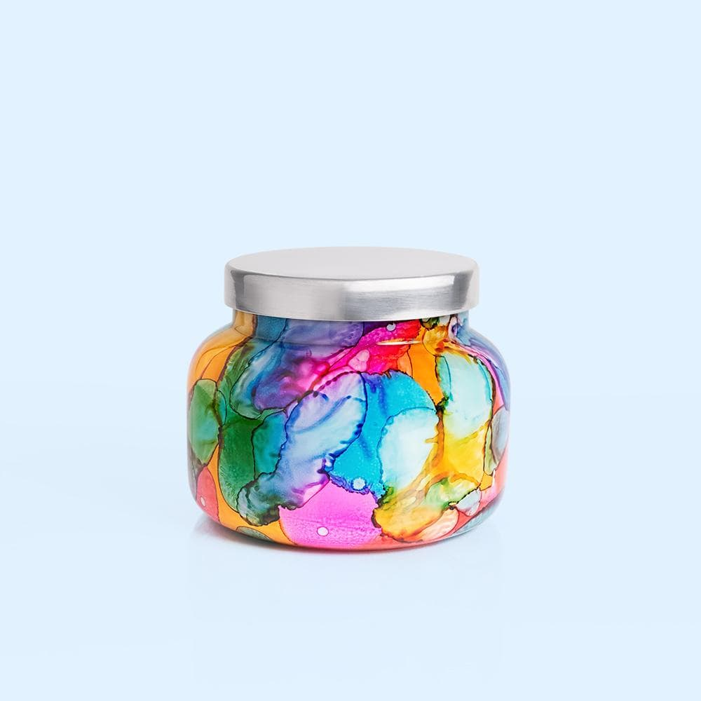 Volcano Candle Rainbow Watercolor Jar