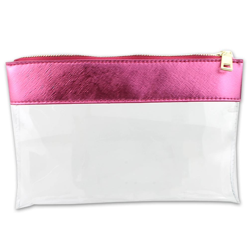 Clear Pouch with Pink Leather