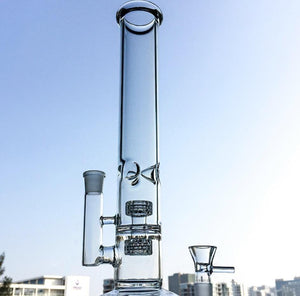 "MYBONGMATE  Bongs Best-Selling Product! - 14"" Straight Tube High-Quality Glass Bong, Featuring a Stereo Matrix Perc & Fritted Disc"