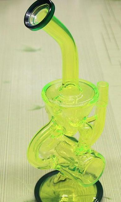 MYBONGMATE  Bongs Glowing Color Now Released To The Market - Colored Glass Bong With Domeless Titanium Nail Faberge Water Pipe With Recycler Filter Percolators/ Water Pipe