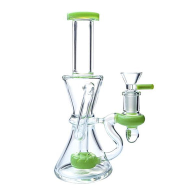 Mybongmate bongs Green With Bowl Recycler 14 mm Water Pipes Heady Glass Bong-MYBONGMATE Quality Product
