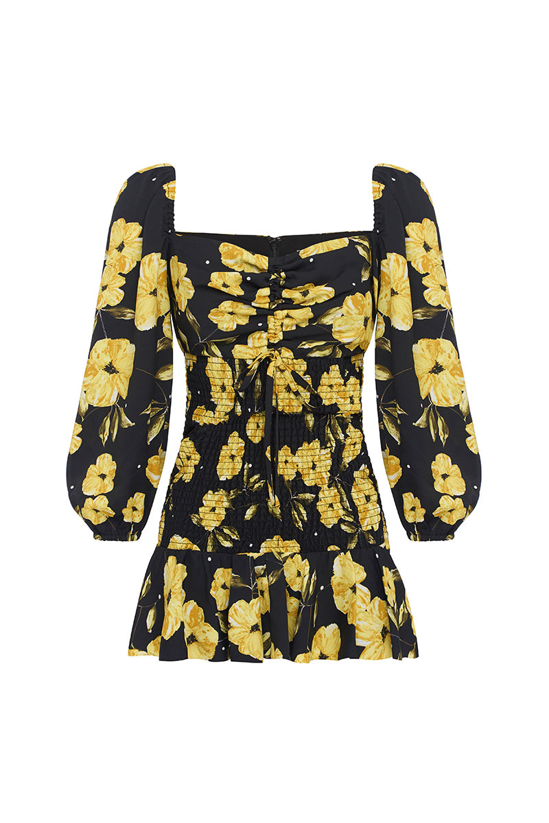 BLOOM SHIRRED FLORAL MINI DRESS