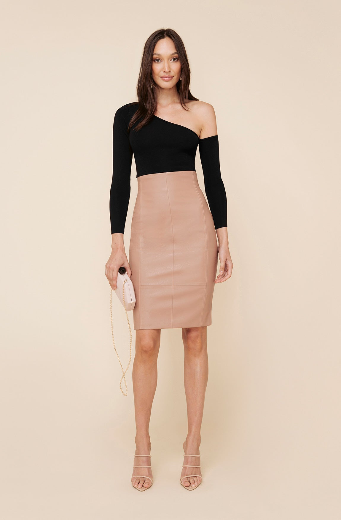 GRAVITY FAUX LEATHER SKIRT