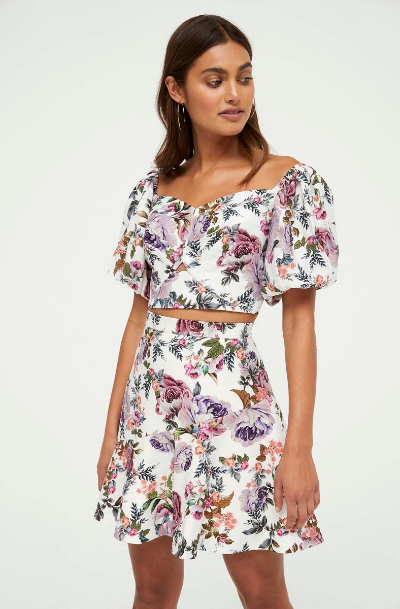 LILAC BLOOMS FLORAL MINI SKIRT