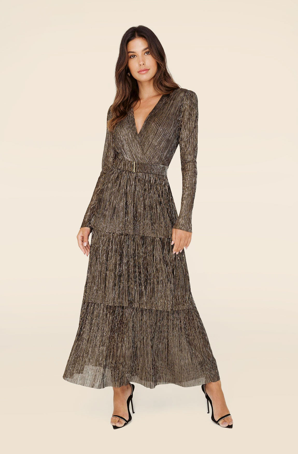 ALL THAT SPARKLES TIERED MAXI DRESS