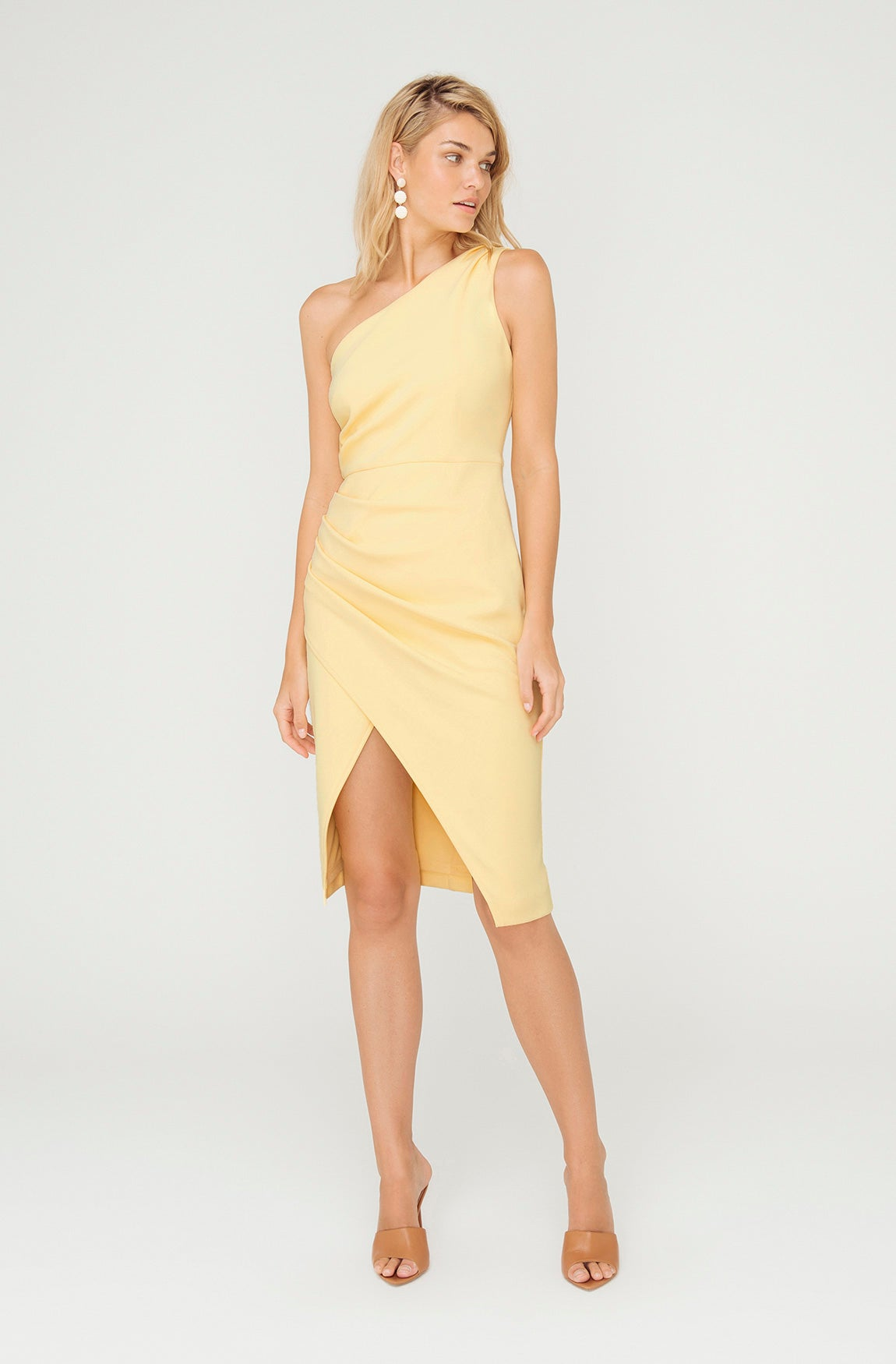 BOARDWALK ONE SHOULDER YELLOW DRESS