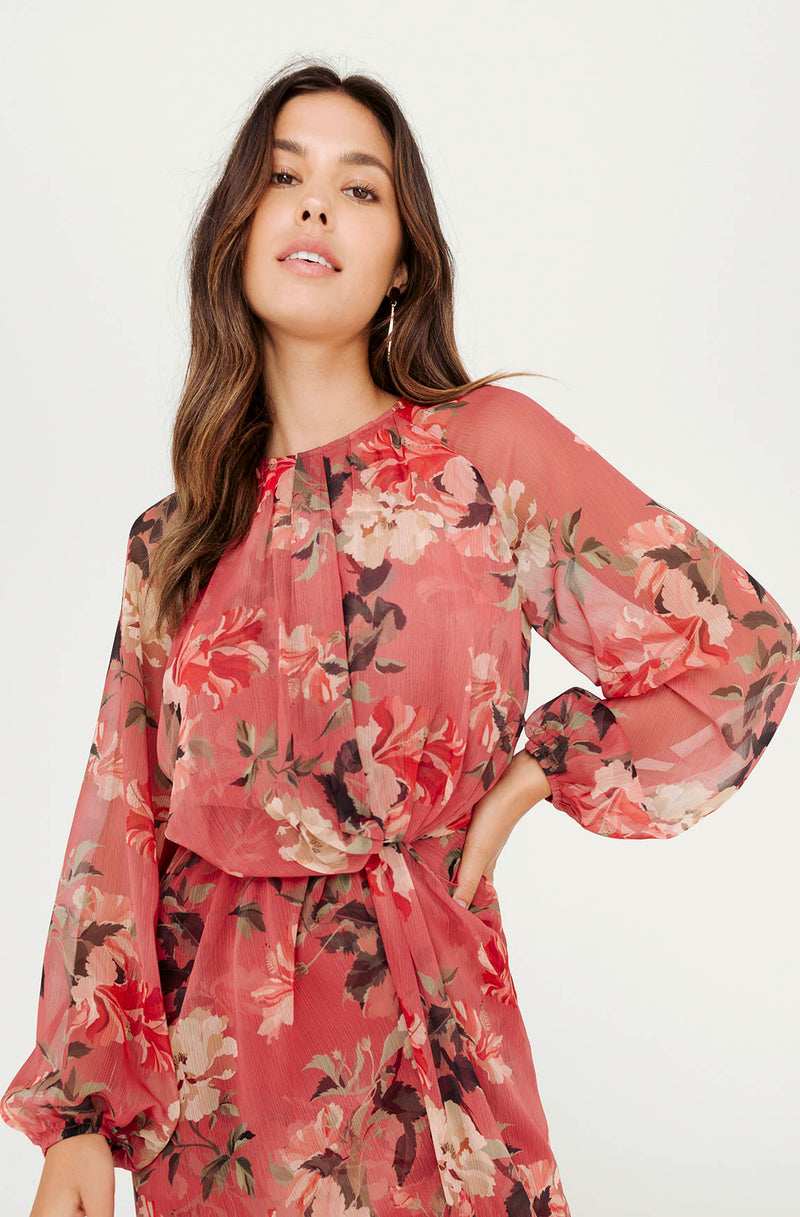 DENI FLORAL LONG SLEEVE DRESS