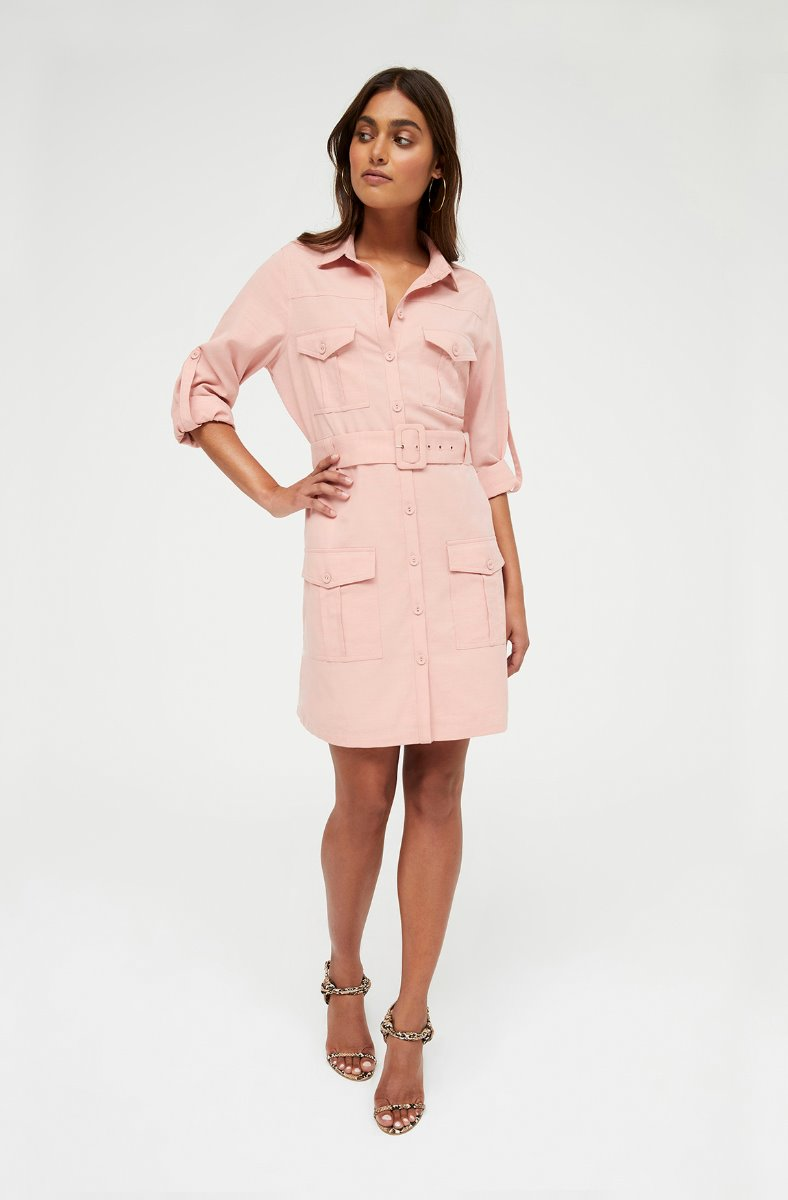 KISS AND TELL PINK SHIRT DRESS