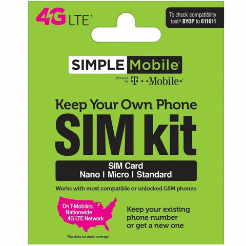 Replacement Simple Mobile SIM Card Kit