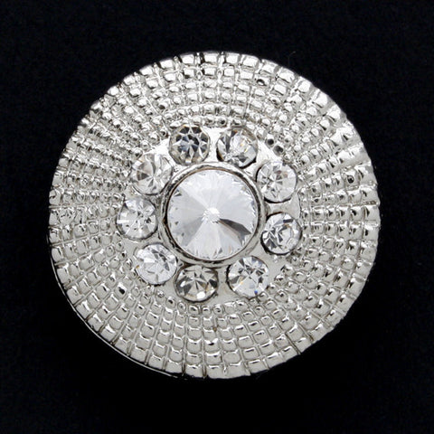 #0033 Diamonte encrusted metal shank button 28mm
